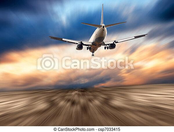 blaues flugzeug, himmelsgewölbe - csp7033415