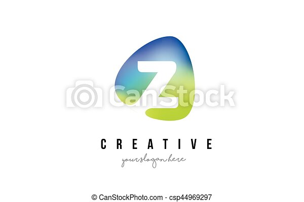 Blaues Form Design Brief Logo Oval Grün Z Blaues