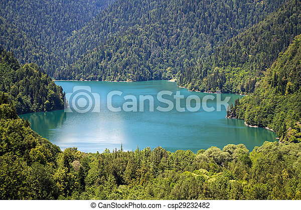 blaues, foto, see, landschaftsbild, berge - csp29232482