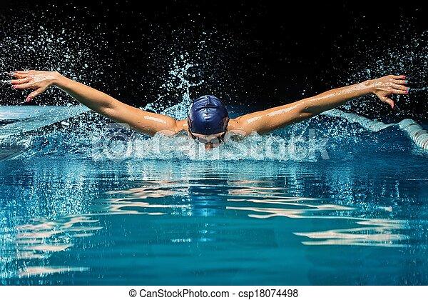 blaues, frau, kappe, junger, klage, teich, schwimmender - csp18074498