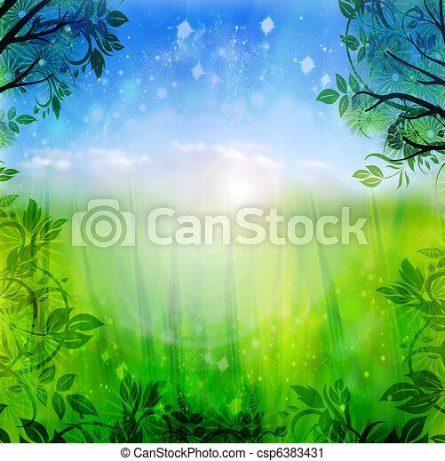 blaues, fruehjahr, grüner hintergrund - csp6383431