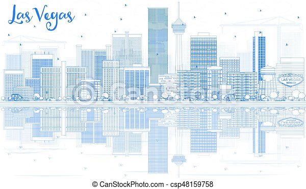 blaues, gebäude, grobdarstellung, skyline, las vegas, reflections., las - csp48159758