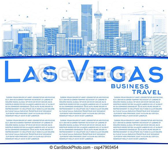 Outline las vegas skyline mit blauen Gebäuden und kopieren Raum. - csp47903454