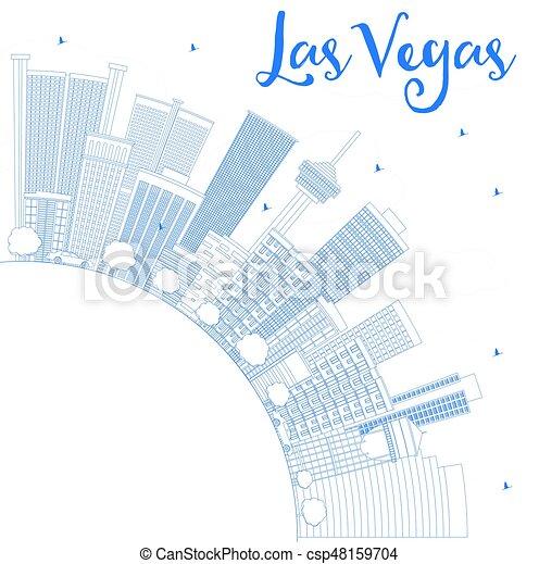 Outline las vegas skyline mit blauen Gebäuden und kopieren Raum. - csp48159704