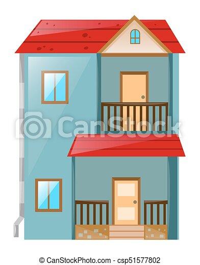 Blaues, Gemalt, Rotes , Dach, Haus   Csp51577802
