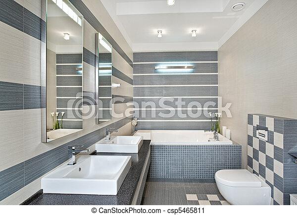 Blaues, Graue , Badezimmer, Modern, Töne, Mosaik   Csp5465811