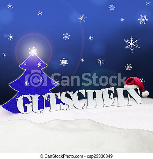 Blaues, gutschein, baum, schnee, gutschein, weihnachten. Gutschein ...