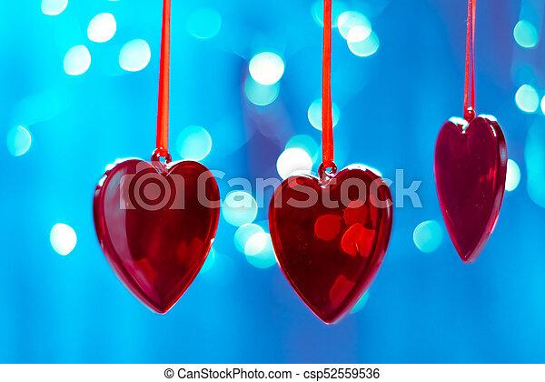 blaues, herz, dekorationen, baum, form, bäume, bokeh, funkeln, hintergrund, fee, verwischt, weihnachten, rotes  - csp52559536
