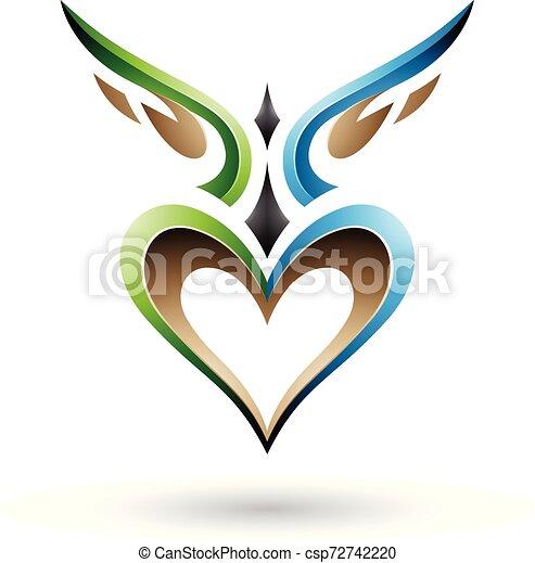 blaues, herz, mögen, geflügelt, abbildung, vektor, grün, schatten, vogel - csp72742220