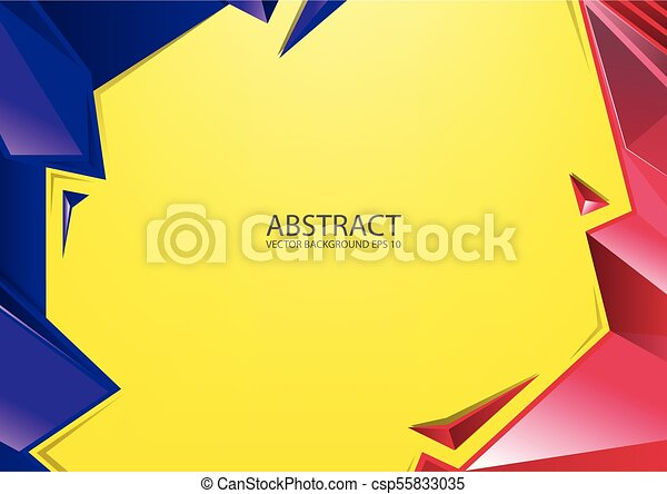 blaues, hintergrund., abstrakt, rotes gelb - csp55833035