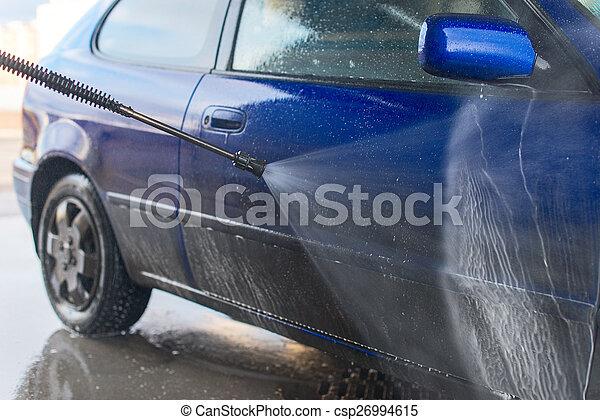 Blaues, hoch, strahl., druck, auto, wasser, waschen ...