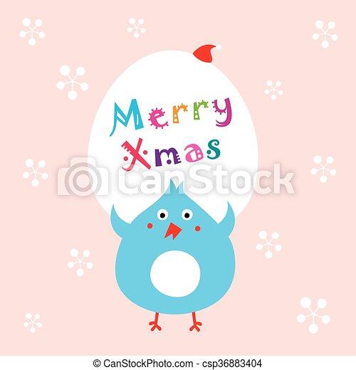 Blaues, huhn, weihnachten. Blaues, huhn, nachricht, frohe weihnacht.