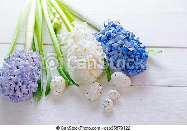 Blaues, hyazinthen, rosa, hintergrund., gemalt, licht, eier, text ...