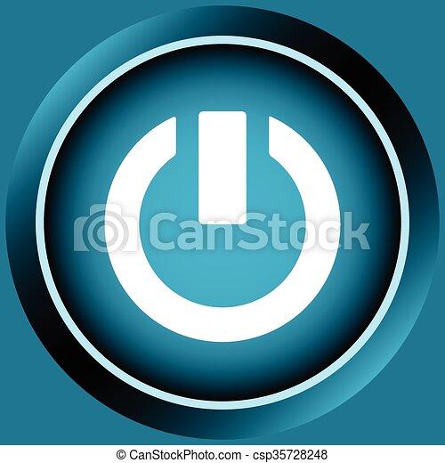 Blaues, ikone, aus, schaltung, zeichen. Blaues, farbe, zeichen ...