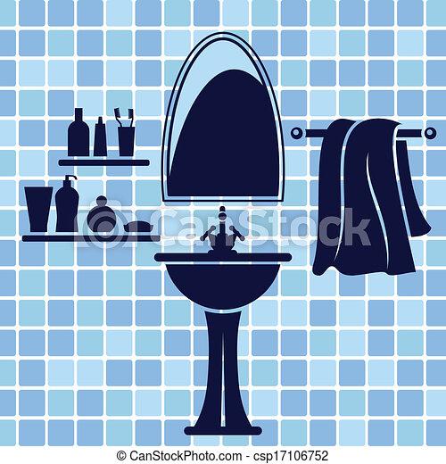 Blaues, inneneinrichtung, badezimmer Clipart Vektor - Suche ...