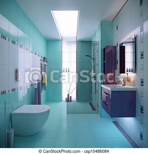 Blaues, inneneinrichtung, badezimmer, szene. Blaues ...