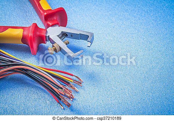Blaues, isoliert, draht, elektrisch, elec, hintergrund, kabel ...