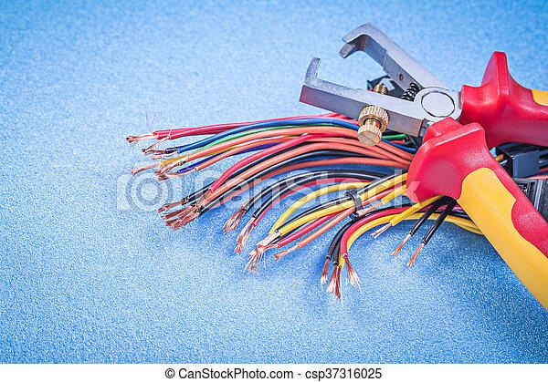 Blaues, isoliert, draht, elektrisch, backgrou, satz, kabel ...