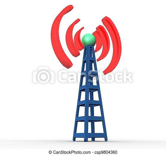 blaues, kommunikation, radio, hintergrund, weißer turm, 3d - csp9804360