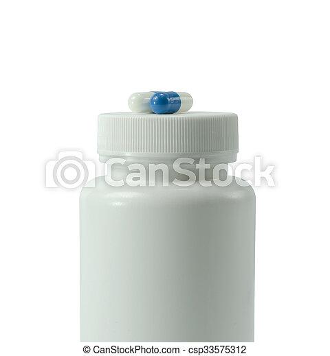 Blaues, krug, zwei, farben, weißes, pillen. Blaues, krug ...