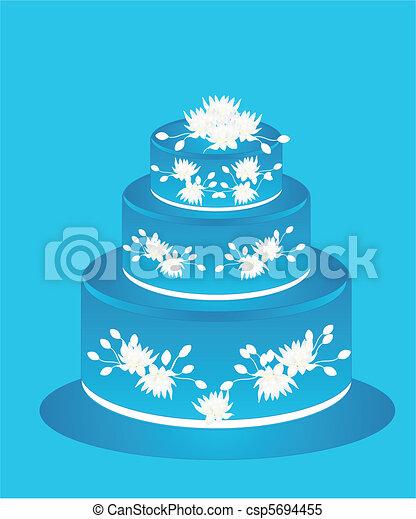 Blaues, kuchen, blumen, zuckerguß. Blaues, groß,... Clipart Vektor ...