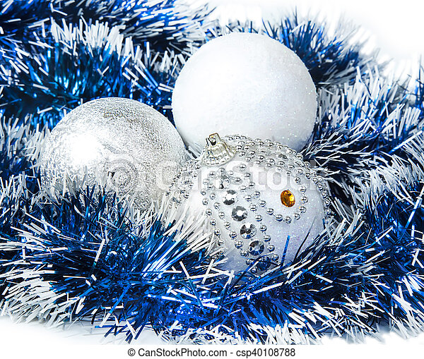 Weihnachtsdeko Lametta.Blaues Kugeln Lametta Weihnachten Weißes Glitzer Silber