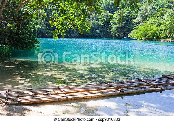 blaues, lagoon., jamaica. - csp9816333