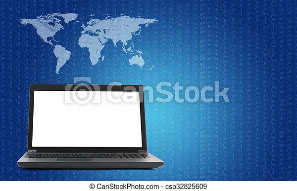 Laptop mit Weltkarte und Figur auf blau - csp32825609
