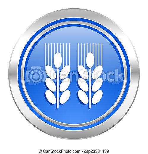 Landwirtschaftliche Ikone, blauer Knopf - csp23331139
