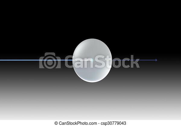 blaues licht, uv, linse, glas, schwarzer pfeil - csp30779043