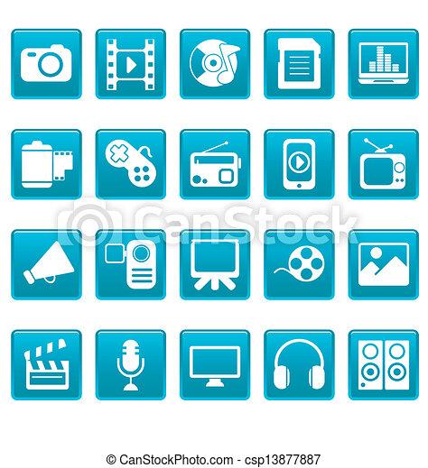 blaues, medien, quadrate, heiligenbilder - csp13877887