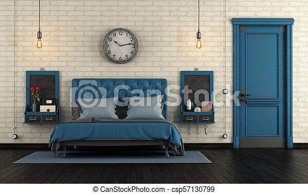 blaues, meister, retro, schalfzimmer - csp57130799