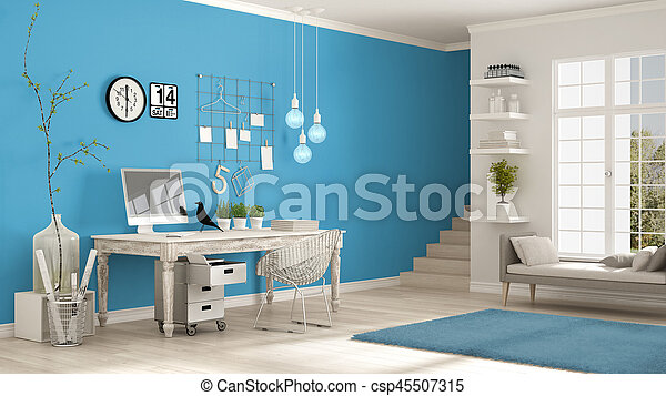 Blaues, Minimalist, Klassisch, Zimmer, Buero, Skandinavisch, Arbeitsplatz,  Design,