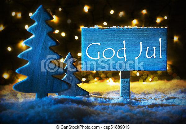 Frohe Weihnachten Schwedisch.Blaues Mittel Gott Jul Baum Frohe Weihnacht