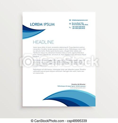 Blaues Modern Kurve Form Design Briefkopf