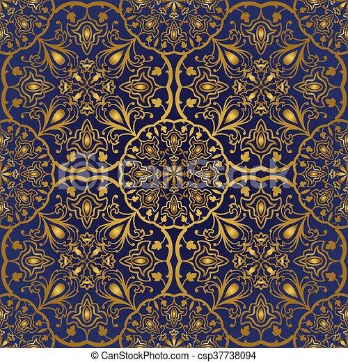 blaues orientalische pattern gold teppich dekorativ textile schablone stlich muster. Black Bedroom Furniture Sets. Home Design Ideas