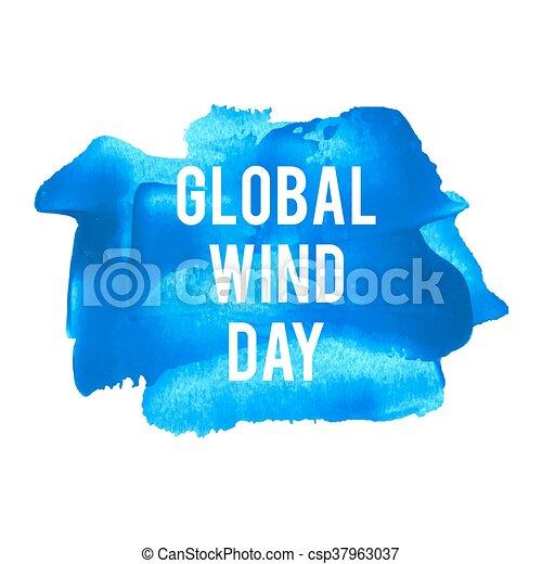 blaues, plakat, karte, gemalt, text, global, abbildung, feiertag, geschrieben, wörter, wind, hintergrund, feier, tag, logo - csp37963037