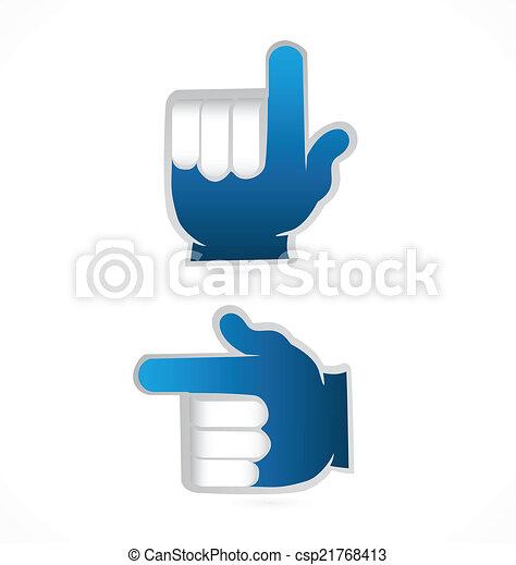 blaues, punkt, auf, vektor, hände, logo - csp21768413