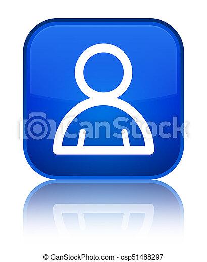 Mitglied Icon spezielle blaue Quadratknopf - csp51488297