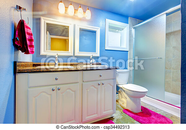 Blaues Rosa Badezimmer Kinder Towel Teppich Wande