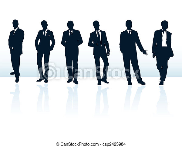 Ein Set von dunkelblauen Vektor-Geschäftsmänner Silhouetten in Anzügen. Mehr in meiner Galerie.Set von dunkelblauen Vektoren Geschäftsmänner Silhouetten in Anzügen. Mehr in meiner Galerie. - csp2425984