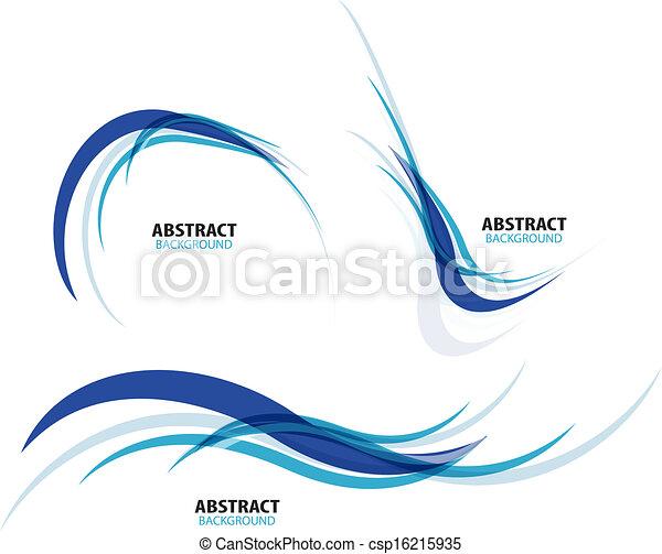 blaues, satz, linien, strömend, welle - csp16215935