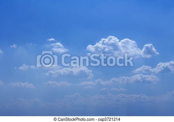 blaues, schöne , wolkenhimmel, himmelsgewölbe, sonnig, weißes, tag - csp3721214