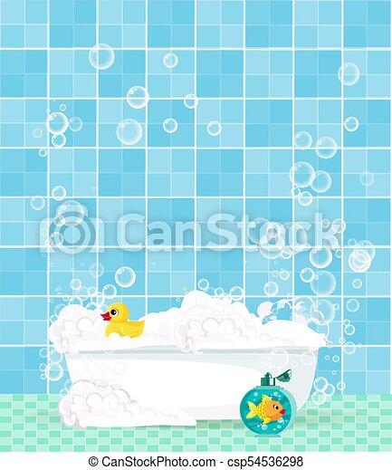 Blaues Schaum Gummi Hintergrund Blasen Gekachelt Ente