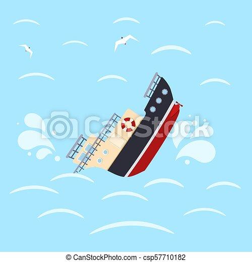 blaues, schiffbruch, hintergrund., catastrophe., bild, abbildung, farbe, vektor, design, meer, schiff, waves. - csp57710182