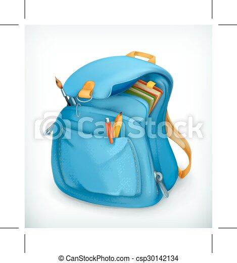 blaues, schulen sack - csp30142134