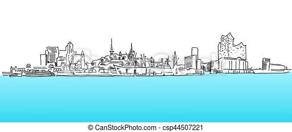 blaues skizze panorama wasser vektor hamburg blaues. Black Bedroom Furniture Sets. Home Design Ideas