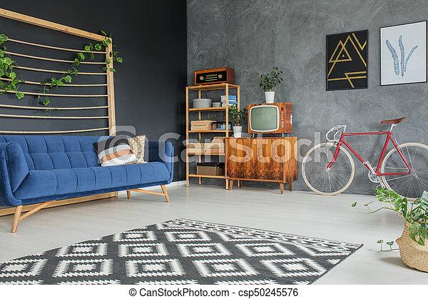 Blaues Sofa, Kissen   Csp50245576