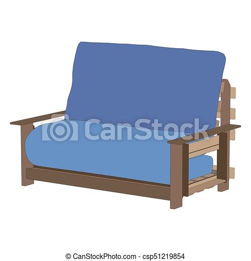 Blaues Sofa, Modern, Freigestellt, Abbildung, Couch, Vektor,  Inneneinrichtung, Möbel