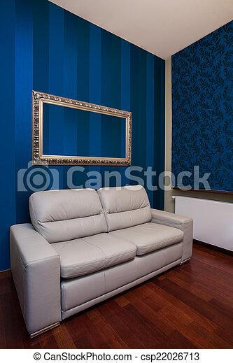 Blaues sofa, wände, zimmer. Blaues, leder, wände, zimmer, sofa.